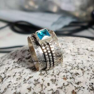 Blue Topaz Spinner Ring 925 Sterling Silver Plated Handmade Ring Size 7.75 JP335