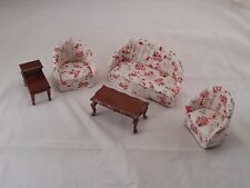Modern Living Room Parlor Set Walnut finish dollhouse 1/12 scale T0107 5pcs