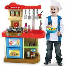 Cucina Giocattolo Bambini Fornello Luci Suoni 30 Accessori Gioco 52x26x72cm