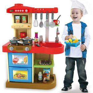 Cucina Giocattolo Bambini Fornello Luci Suoni 30 Accessori Gioco 52 x 26 x 72 cm