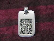 Menorah Rectangular Locket Sterling Silver by Michael Bromberg Men's