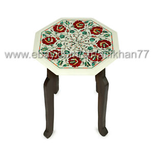 Carnelian Side Table Marble Inlay End Table Living Room Decor Pietra Dura Art