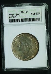 1934 Daniel Boone Commemorative Half $ - MS-64 (ANACS, Old holder)  stk#6605