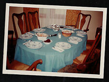 Old Vintage Photograph Table With Place Settings in Retro Dining Room