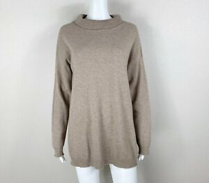 EILEEN FISHER 100% Cashmere Sweater Pullover Tan-Heather Turtleneck Small - NTSF