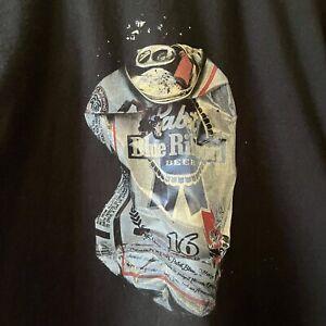 Pabst Blue Ribbon Shirt PBR T Shirt Size L Beer Shirt Black PBR Can Shirt