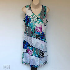 'WHISPERS' EC SIZE 'M' FLORAL PRINT LINED LAYERED SLEEVELESS DRESS