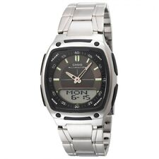 Casio AW81D-1A Data Bank Stainless Steel Digital Analog Watch 10 Year Battery