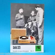 Solid 323 Plattenspieler DDR 1972 | Prospekt Werbung Werbeblatt DEWAG P45
