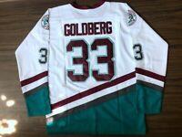 Movie The Mighty Ducks #33 Greg Goldberg Ice Hockey Jersey Sewn Green White