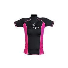 acfa117ed832e7 DivePro Rash Guard UV Shirt - Damen Lycra Kurzarm schwarz-pink