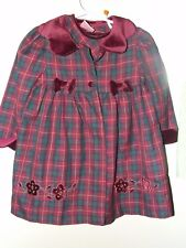Laura Ashley 2T Plaid Dress & Coat Embroider Flowers Green Maroon Vintage Collar