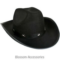 A835 Western Black Cowboy Hat with Silver Star Wild West Costume Accessory
