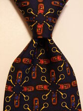 ETRO Men's 100% Silk Necktie ITALY Luxury Classic Geometric Blue/Multi PERFECT