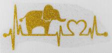 bm883 IRON ON TRANSFER glitter foil gold heartbeat elephant 4.6 inches width