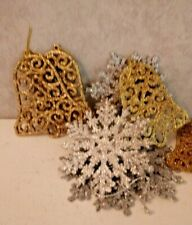 32 Silver Glitter Snowflake And Gold Bells Design Hanging Plastic Decorations