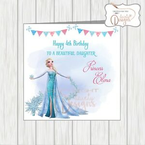 Personalised Frozen Princess Elsa Birthday Card Daughter Granddaughter 3rd 4th 5