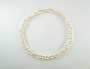 """5.5mm Round Rosy Akoya Saltwater Cultured Pearl Strand Opera Length Necklace 32"""""""
