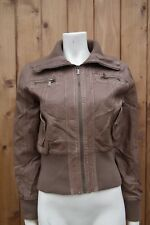 E-VIE Women Distressed Faux Leather Cropped Biker Brown Jacket Coat UK 14