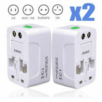2PC Universal All In One Power Adapter Wall Charger Socket Travel Plug Converter