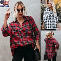 US Womens Button Down Long Sleeve T-Shirt Ladies Casual V-Neck Plaid Blouse Tops