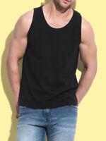 Mens Plain Cotton BLACK Tank Top Vest Sleeveless T-Shirt Tee Shirt Singlet
