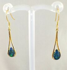 Triplet Opal Dangle Tear Drop Style Hook Earrings 18ct Gold Plated w Certificate