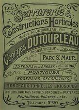 Catalogue Dutourleau 1913 jardin jardinage tonnelle fer forgé garden lettrage