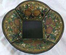 Vintage Tole Bowl Signed 1954 M.C. Jenkins Folk Art Flowers Toleware Green Black