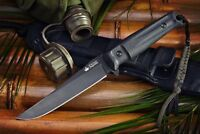 Kizlyar Supreme Croc AUS8 Black Blade Tactical Fixed Blade Knife Quality Russian