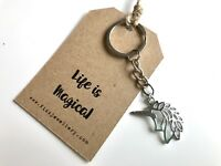 """""""Life is Magical"""" Cutout Silver Unicorn Message Card Keyring Girls Gift"""
