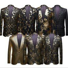 Men Coats Floral Printed One Button Lapel Spring British Blazer Costume Jackets