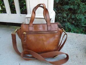 Vintage Fossil Fossil tan leather crossbody satchel bag
