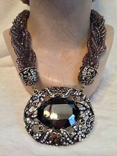 HEIDI DAUS MULTI-STRAND TORSADE MEDALLION Brown NECKLACE SWAROVSKI HEMATITE