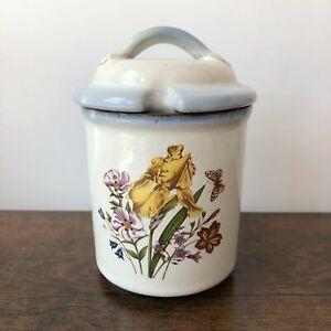 "Grayshott Studio Pottery Wild Flowers Preserve Pot I Vintage Jam Jar I Honey 5"""
