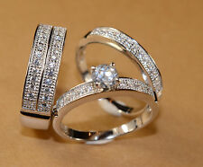 White Gold Finish Engagement Ring/Multi Wedding Bands Set for  His Hers L 9 M 12