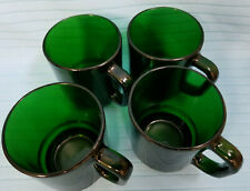 4 Emerald Forest Green Glass France Coffee Tea Mugs Cups