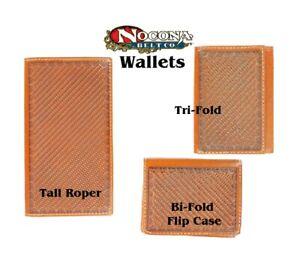 Basket TOOLED Leather ~ Brown ~ Nocona RODEO WALLET~ Tri-fold Roper Bi-Flip