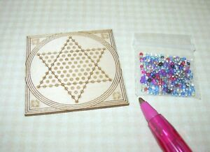 """Miniature Laser-Cut Chinese Checkers 1 1/2"""" x 1 1/2"""" w/""""Marbles"""": DOLLHOUSE 1:12"""