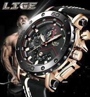 Großartige Armbanduhr Luxus Militär Top-Qualität Herren Leder Datum Chronograph