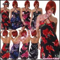 Women's Floral Dress Summer Ladies Casual Beach Dress One Size 10,12,14,16 UK