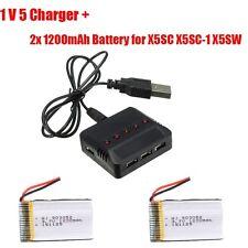 2pcs 3.7V 1200mAh Lipo Battery+Charger for Syma X5SW X5SC X5SC-1 RC Quad Drone