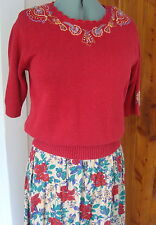 Vintage The Villager L Brick Emb Knitted Ss Sweater, 10 Floral Lily Pocket Skirt