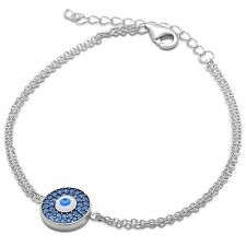 New Nano Turquoise Evil Eye .925 Sterling Silver Adjustable Bracelet