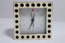 """Kate Spade Cross Pointe Spots Desk Clock Black Enamel Silverplate 3.5"""" Lenox"""