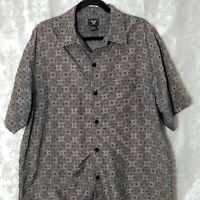 Junction West Mens Large Hawaiian Shirt Geometric Print Black Gray S/S