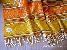 Vintage 100% Wool Orange & Gold Woven FARIBO Afghan Throw Blanket - USA