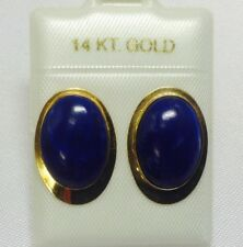 NEW Natural Blue Lapis W/ 14K Yellow Gold Earrings