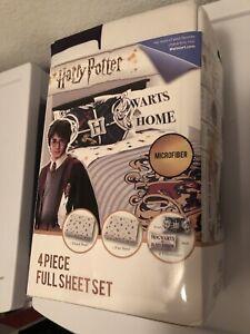 Harry Potter 4 Piece Full Sheet Set Flat Sheet Fitted Sheet 2 pillow cases New