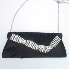 Black Clutch Purse Rhinestone Jeweled Evening Bag Wedding Cocktail Party SHiny